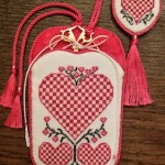 Kit 225 * Pink Hearts Scissors Sheath and miniature Scissors Fob