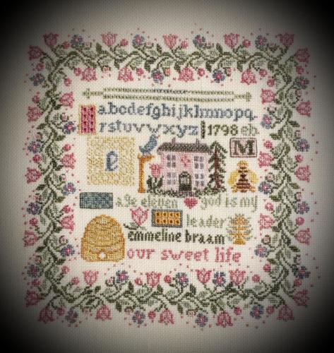 Kit 241 Emmeline 1798 Sampler CLOSEUP shadowed